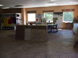 Examples of decorative concrete cover the Renew-Crete showroom