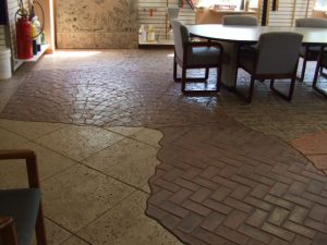 Stamped concrete in Renew Crete Systems Showroom