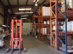 Forklift in Renew Crete warehouse