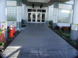 Concrete entryway that has been stamped and recoated with Renew Crete Systems