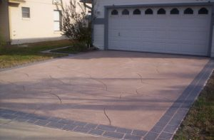 Concrete driveway using the spray coat application